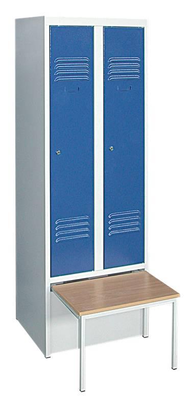 Vestiaire banc coffre 2 colonnes pour 2 personnes