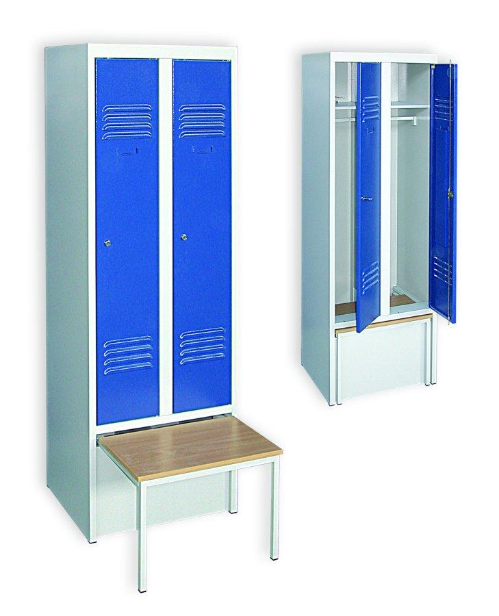Vestiaire sur banc coffre 2 colonnes industrie propre