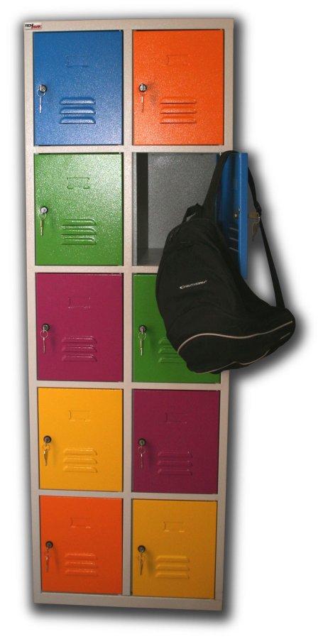 Vestiaire multicases 10 casiers multicolores