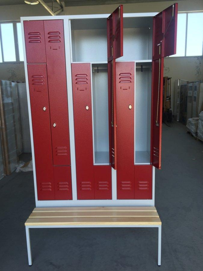 Armoire vestiaire portes en L sur banc
